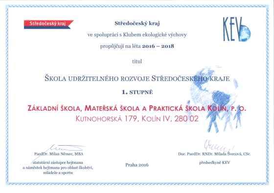 Škola udržitelného rozvoje - certifikát